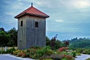 Wooden belfry in the village Dolič